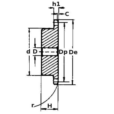 """Kettenzahnrad DIN//ISO 06 B-2 Teilung 3//8/"""" Zähne 18"""